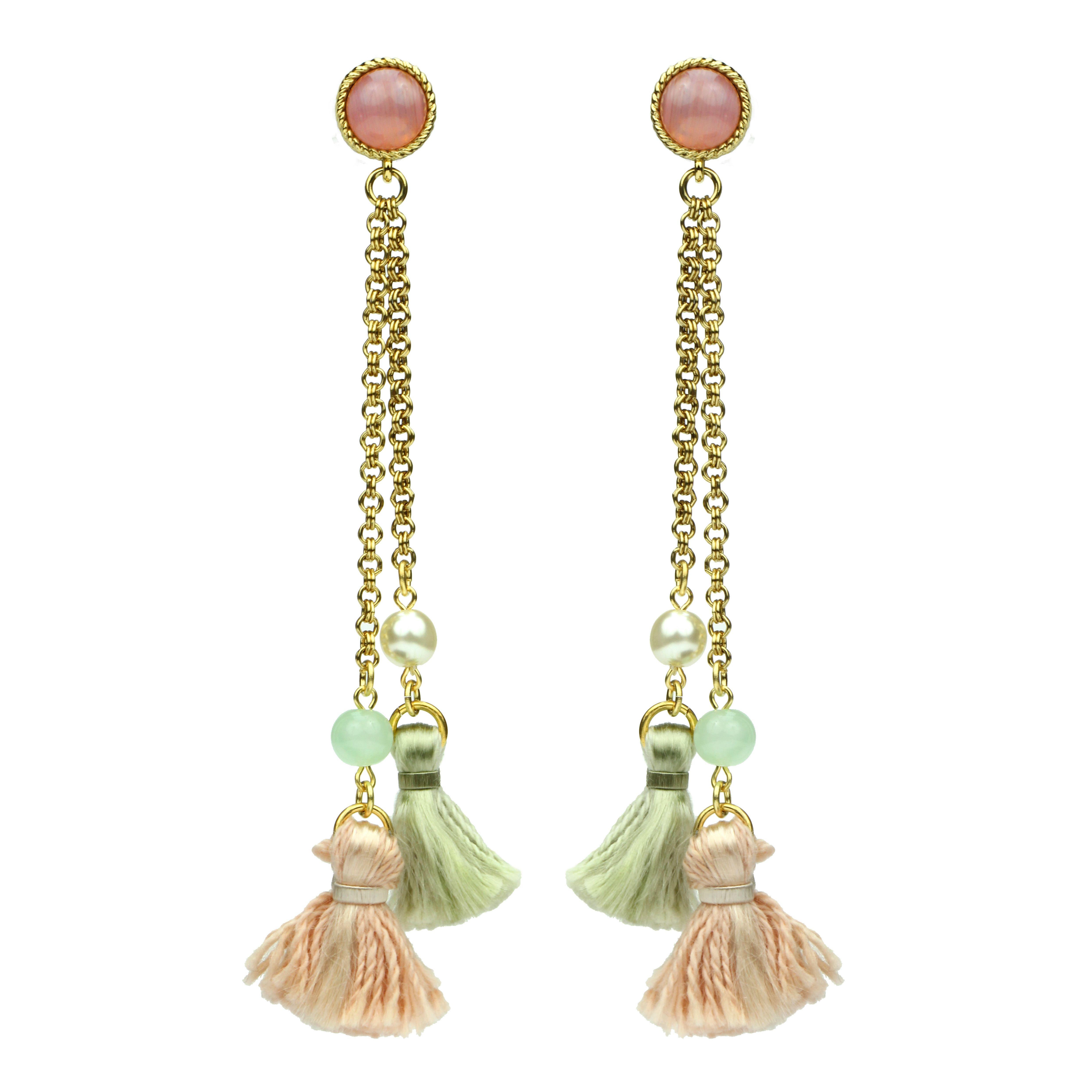 e39eb7a53 Long Tassel Drop earrings #flower #pink #petals #Ben-amun #tassles #gold # earrings