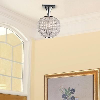 hampton bay bellefont 1-light polished nickel crystal ball semi