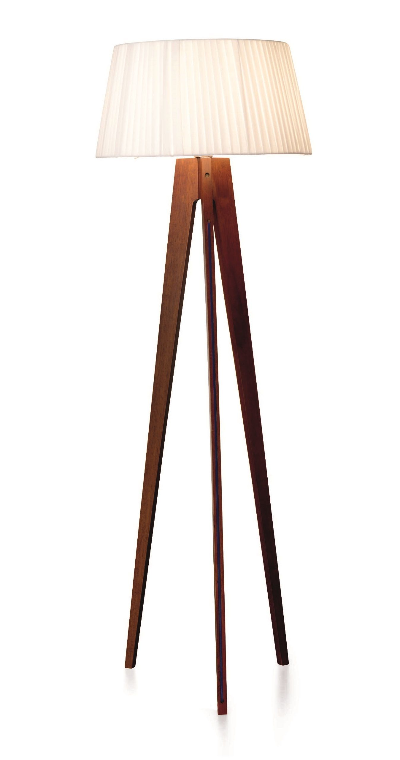 Walnut Wood Stain Tripod Floor Lamp Red Cable, Miller | Rubber ...