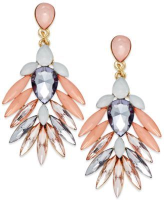 Fashion that flies. These Bar Iii earrings feature beautiful pink, black diamond, and peach stones in a feathered silhouette. Crafted in gold-tone mixed metal. #littlesalebirdy