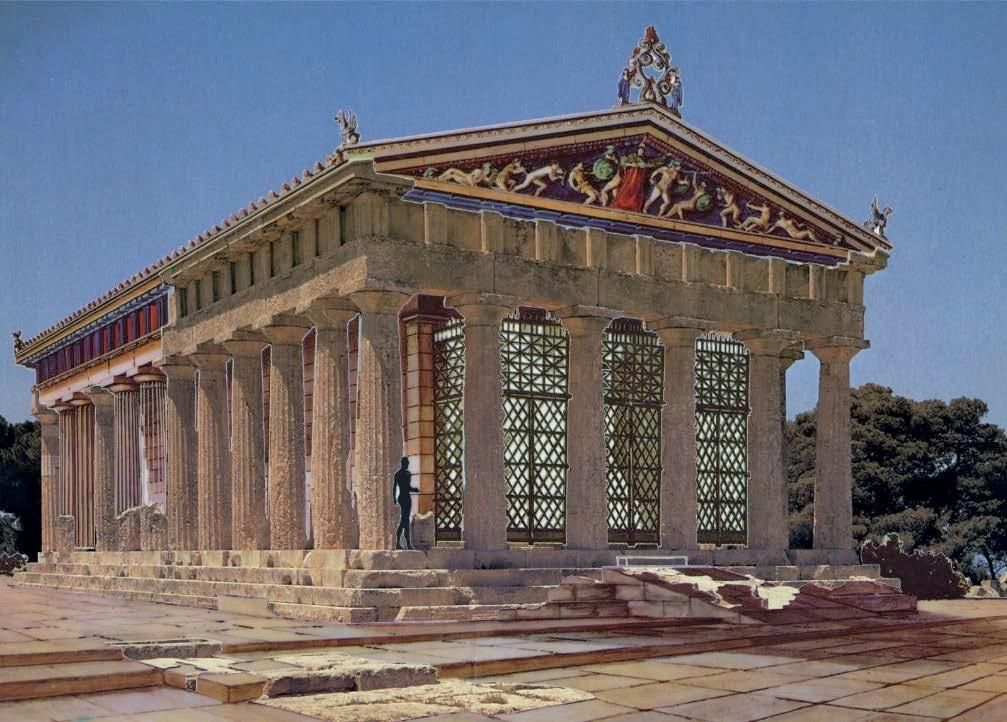 partial reconstruction of how the temple of Aphaia in ...
