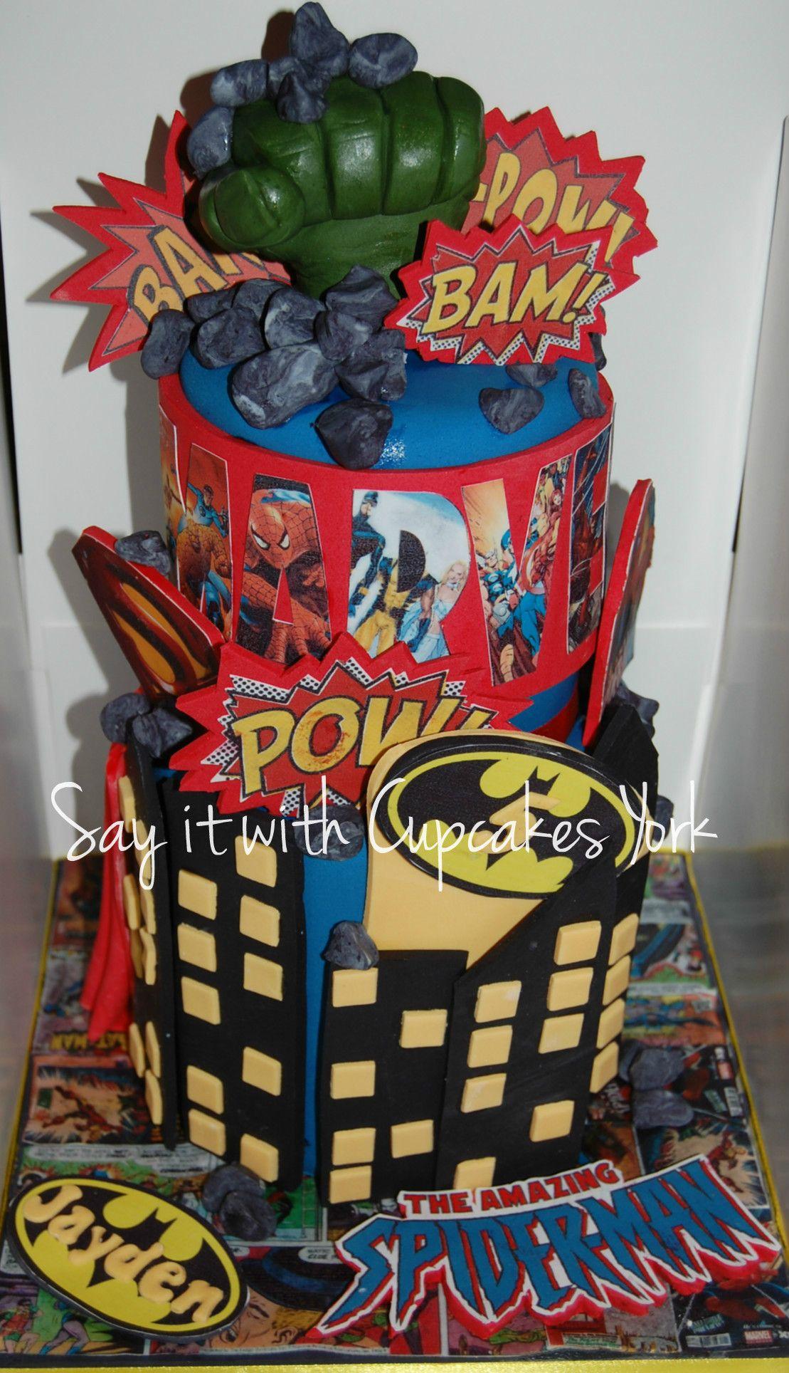 MARVEL, Hulk Hand, Batman, Superman, Spiderman, Superhero Stacked Cake