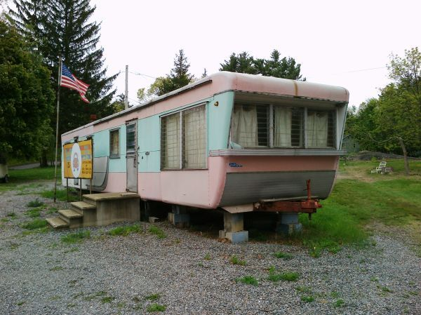 1950's Vintage 44' mobile home trailer camper..no wheels but ... on victorian blue, industrial blue, texas home blue, florida home blue, charleston home blue,