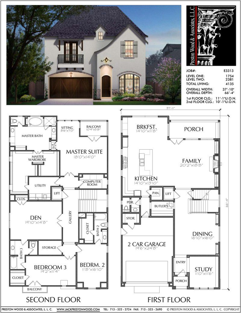 Two Story House Plan E3313 Architectural Design Styles In 2019