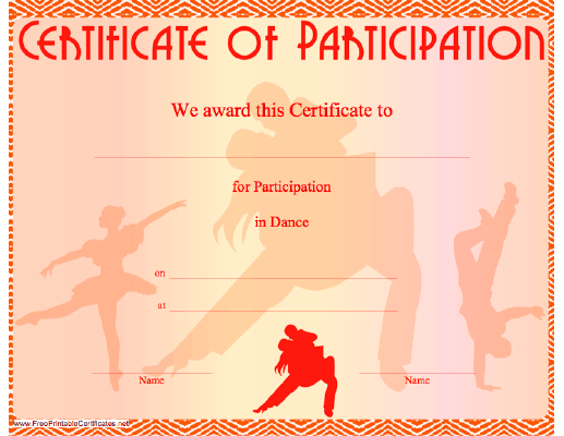 This certificate of participation in dance features illustrations of this certificate of participation in dance features illustrations of dancers free to download and print yadclub Choice Image