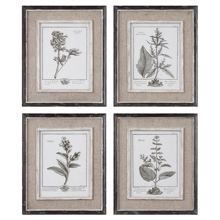 Framed Wall Art Sets set of four framed botanical prints. product: 4 piece wall art