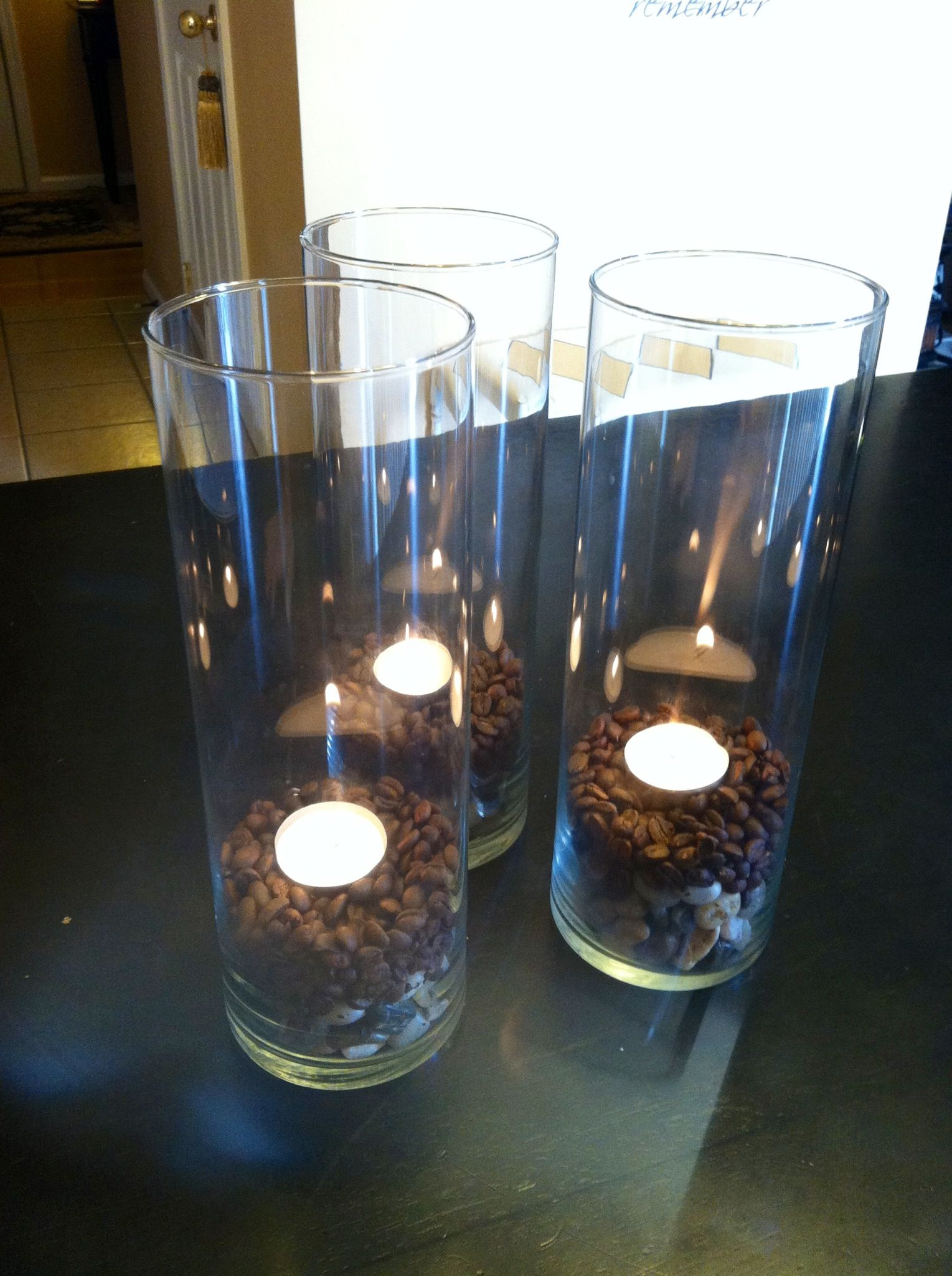 recycled centerpiece glass containers pebble rocks coffee beans