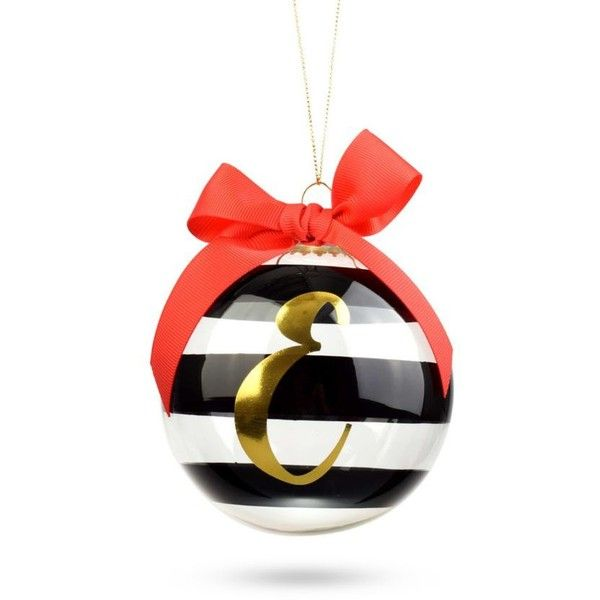 Home Accents Black 3.75-In. Striped Monogram Ornament ($8) ❤ liked on Polyvore featuring home, home decor, holiday decorations and black