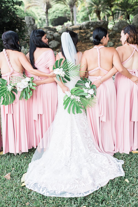 Blush Pink Hawaiian Wedding With Tropical Monstera Bouquets Vida Chic Events Colorful Hawaiian Wedding Dress Beach Bridesmaid Dresses Blush Bridesmaid Dresses