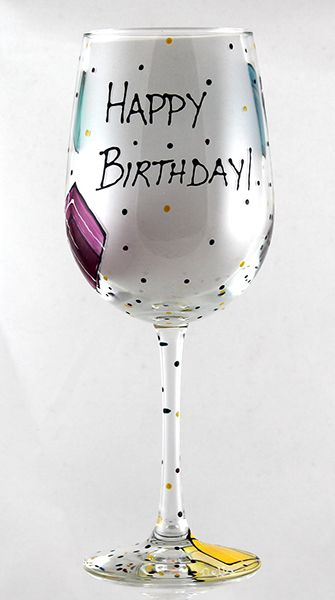 Happy Birthday Wine Glass With Images Happy Birthday Wine