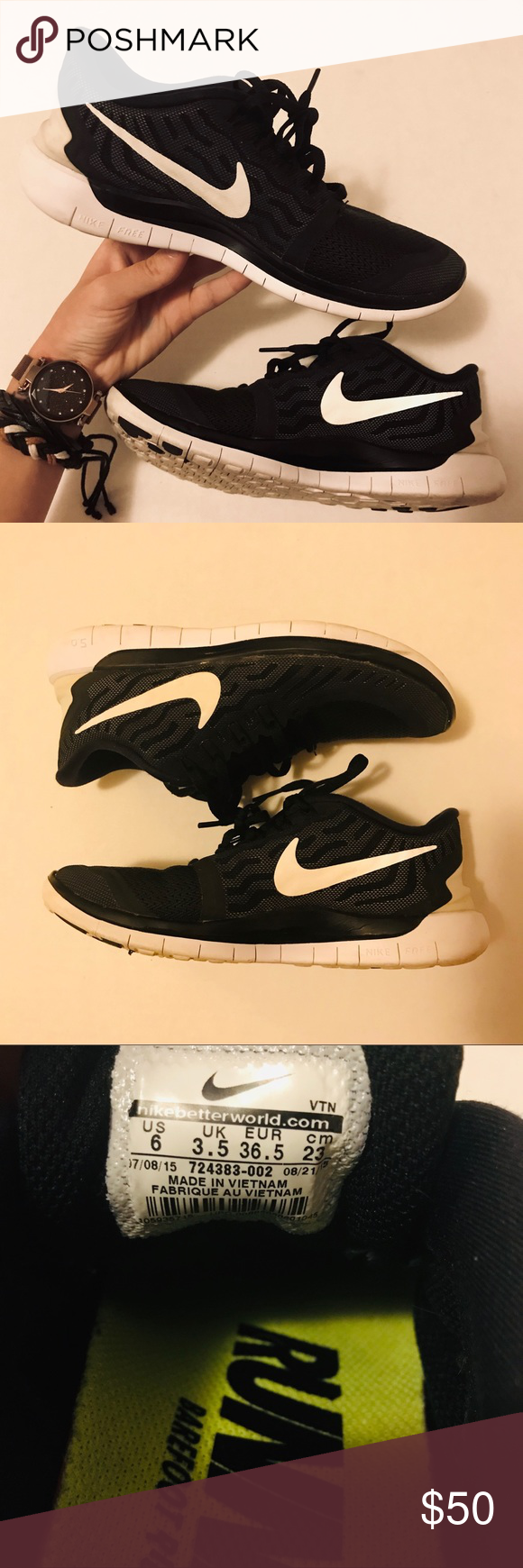 Nike Free 5.0 Running Black and White Sneakers Size 6  Very Little Wear Great Condition  Same or Next Day Shipping  Very Comfortable Nike Shoes Sneakers #nikefreeoutfit