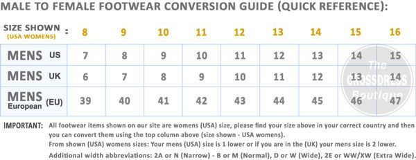 The Crossdresser Shoe Size Conversion Guide Chart Of Male To