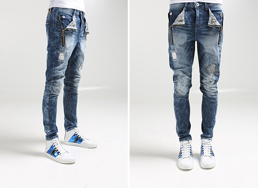 New Mens ragged skinny jeans men roken hole ripped pants vintage ...