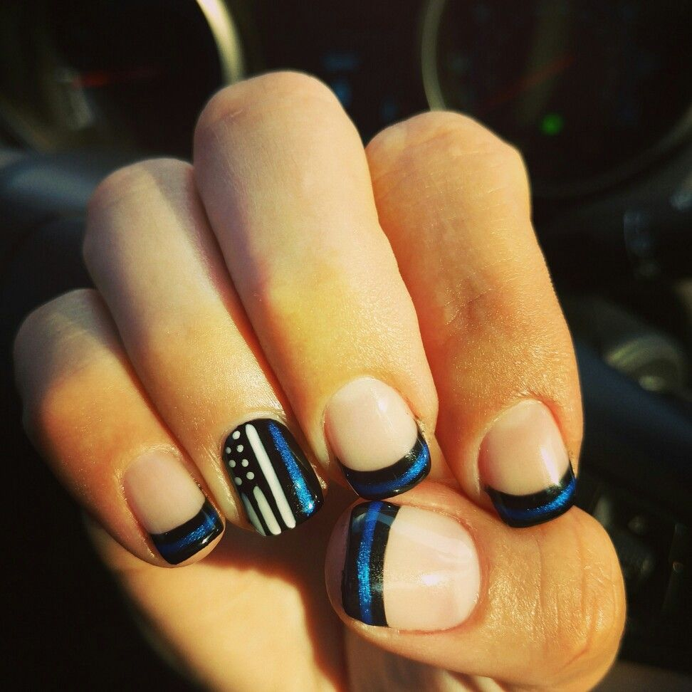 Thin Blue Line Nails Lines On Nails American Flag Nails American Nails