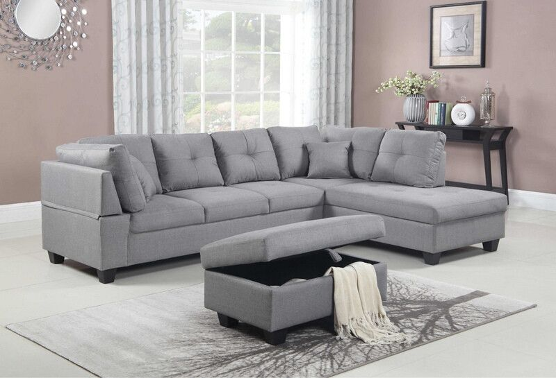9117 3pc 3 Pc Gramine Light Gray Linen Like Fabric Sectional Sofa Storage Ottoman With Images Sectional Sofa Fabric Sectional Sofas Sectional Sofa Couch