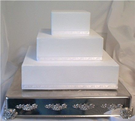 Square Wedding Cakes | White-Square-Three-Tier-Wedding-Cake-Silver-Square-Cakestand1.jpg
