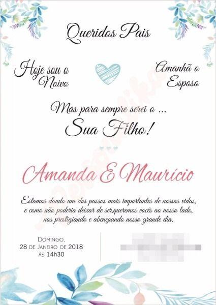 Convite De Casamento De Barbara Adrien Em Convite Padrinhos