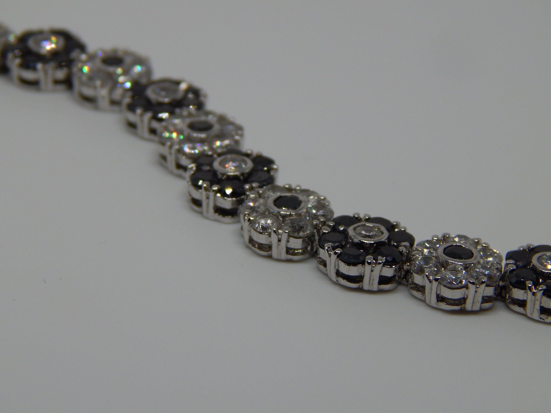 Crystal Bracelet, Black and White Bracelet, Vintage Dainty Classic Tennis Bracelet, Gift for Her