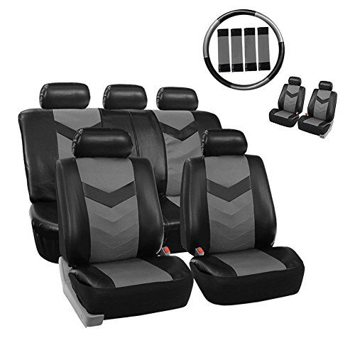 Universal Pu Leather Car Seat Covers 11piece Classic Black Luxury Full Set Air Bag Safe Split B Leather Car Seats Leather Car Seat Covers Car Seat Cover Sets