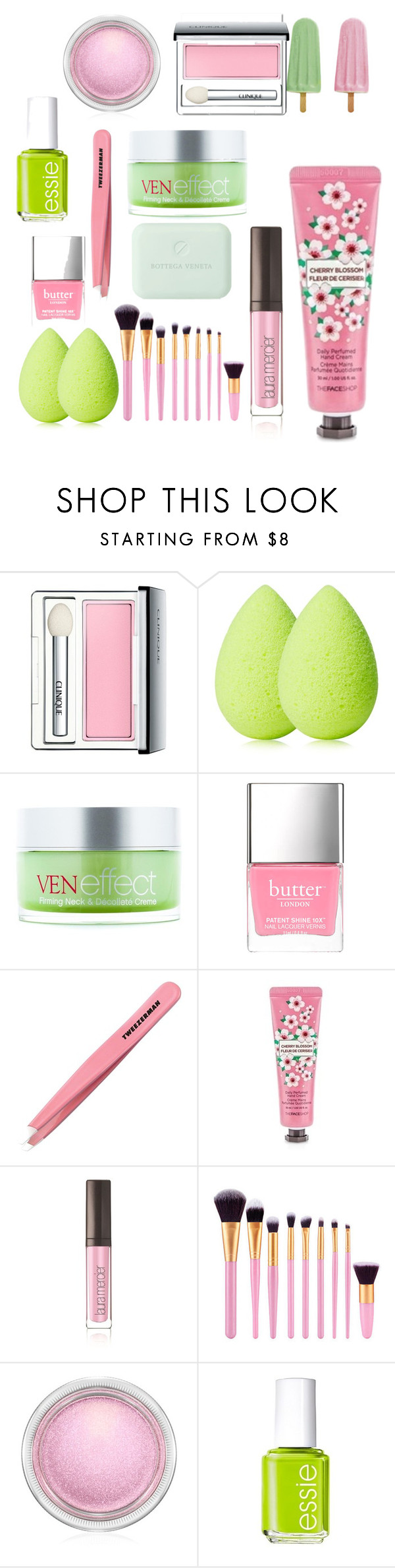 """Day At The Spa 😛🙌🏽"" by theyadoretrisha ❤ liked on Polyvore featuring Clinique, beautyblender, VenEffect, Butter London, Tweezerman, The Face Shop, Laura Mercier, MAC Cosmetics, Essie and Bottega Veneta"