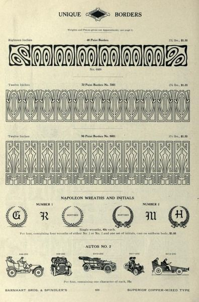 Border ornament designs from the barnhart catalog book of type comprising a large variety of superior copper mixed types rules borders galleys printing presses electric welded chases paper and card cutters fandeluxe Choice Image