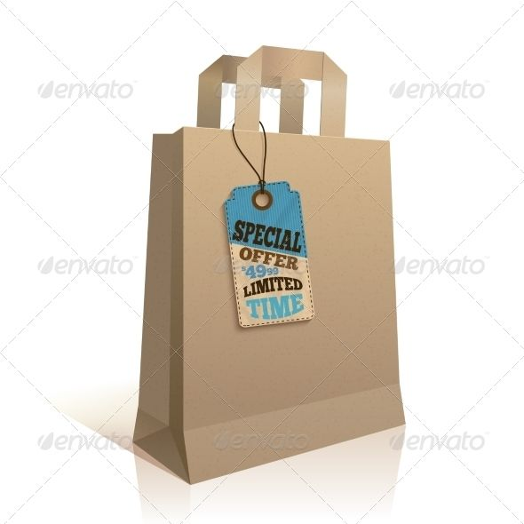 Paper Shopping Bag With Tag  Shopping Bags Template And Bag