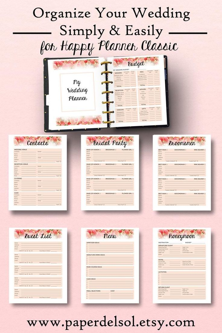 Happy Planner Wedding Insert, Wedding Planning for Happy