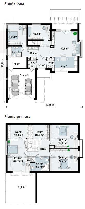 Plano de atractiva casa con dise o moderno con 5 for Diseno estructural de casa habitacion