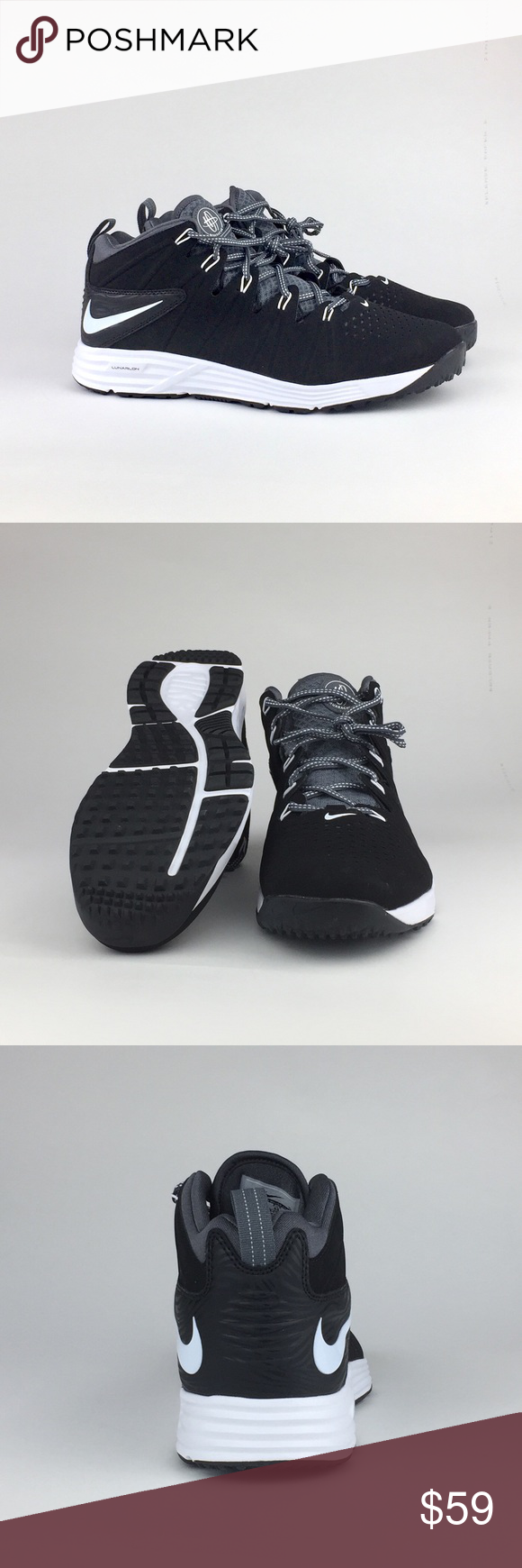Nike Huarache 4 Lax Turf Lunarlon Lacrosse NWOB Nike Huarache 4 Lax Turf Lunarlon Lacrosse Mid-Top Trainer (#684699-010), Men's US 11, Black/White/Dark Grey.  Awesome high-performing lacrosse trainer from Nike! * Lightweight synthetic leather provides a great performance fit. * Full-length Lunar midsole for zoned cushion & response. * Ultra-light synthetic enhanced with Nike FlyWire technology for midfoot support. * Solid rubber outsole with hybrid traction pattern and lateral outrigger for…