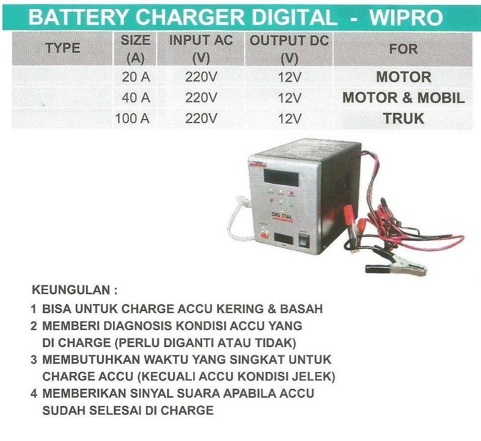 Battery Charger Digital 40 Ampere Wipro Spesifikasi Merk Wipro Power Input 220 Volt Power Output 12 Volt Size Ampere Charger Battery Charger Digital