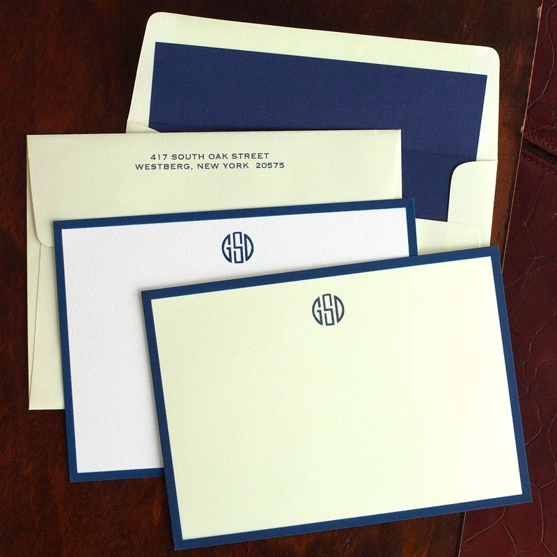 Navy Wide Hand Bordered Cards from Merrimade