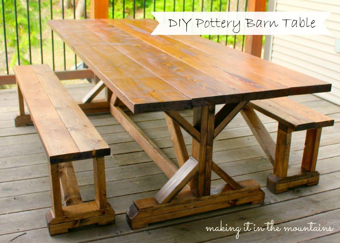 DIY Pottery Barn Inspired Table | Mesa rústica, Carpintería y Rústico