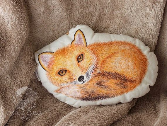 Fox animal pillow. Red fox cushion nursery decor. Woodland pillow. Woodland Nursery decor. Gift for kids. Woodland animal decorative pillow