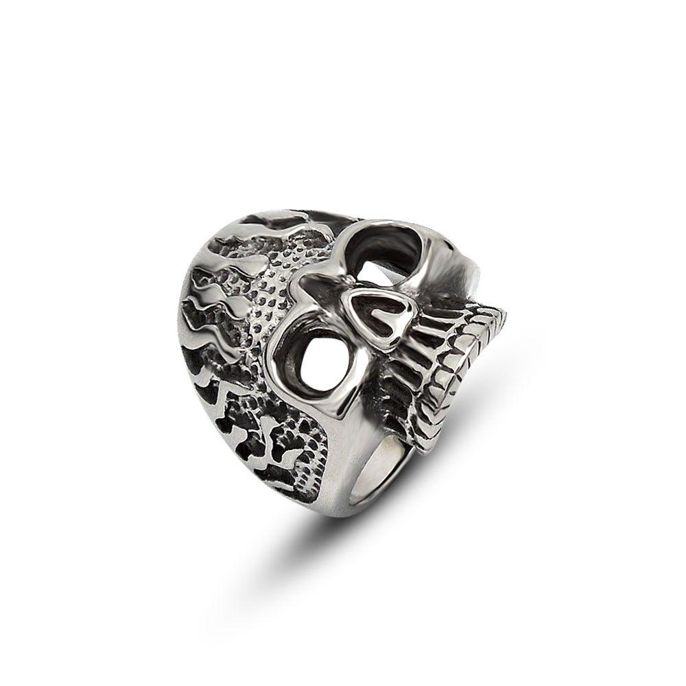 Fashion New Skeleton Stainless Steel Men Skull Ring Vintage Gothic Punk Style Party Skeleton Jewelry Gift Cjdropship