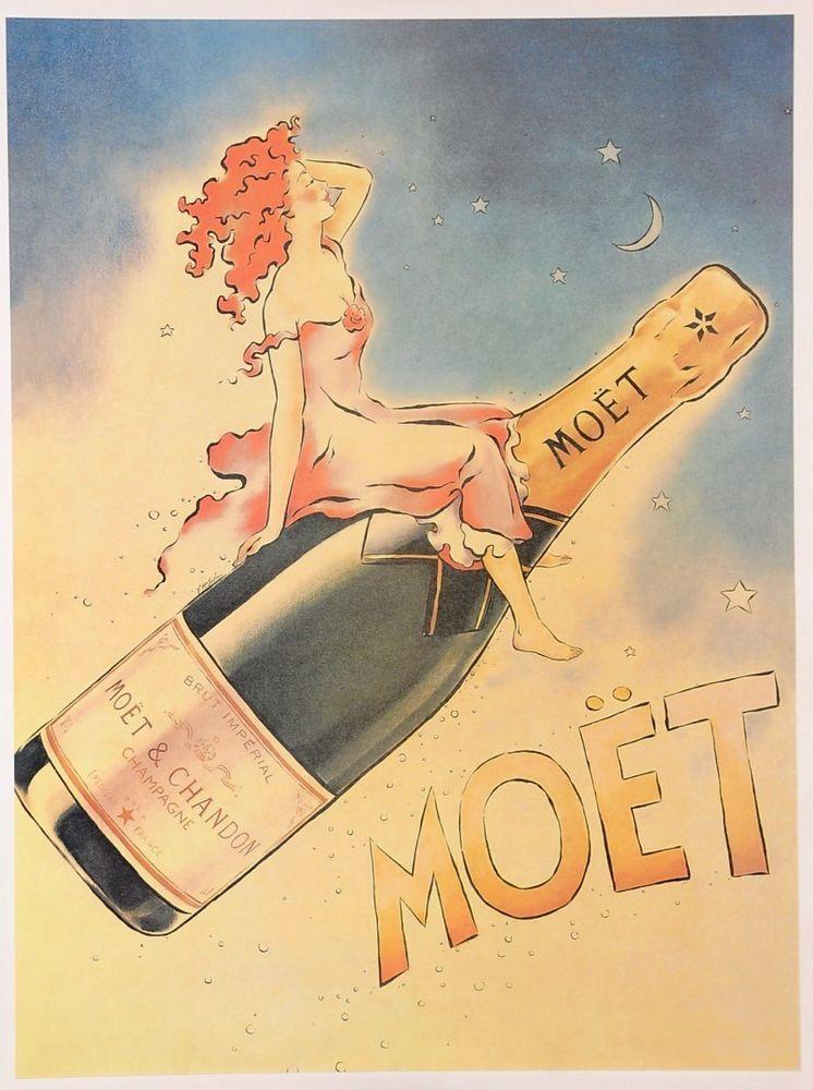 Original Vintage French Champagne Poster Moet Later Printing Ca 1979 Moet Chandon Wine Poster Vintage Wine