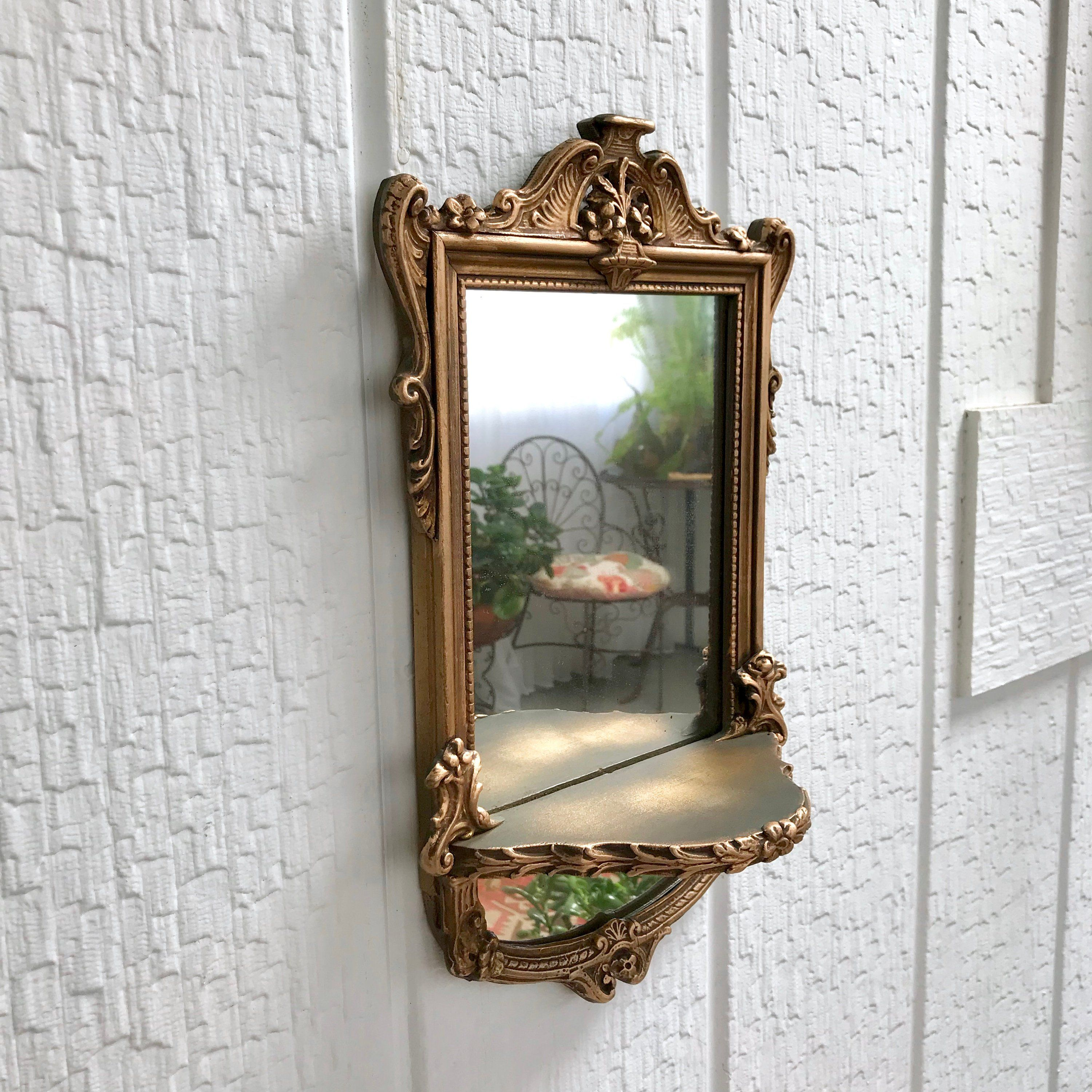 Antique Wall Mirror With Shelf Small Carved Wood Victorian Antique Mirror Wall Victorian Wall Mirrors Antique Gold Mirror