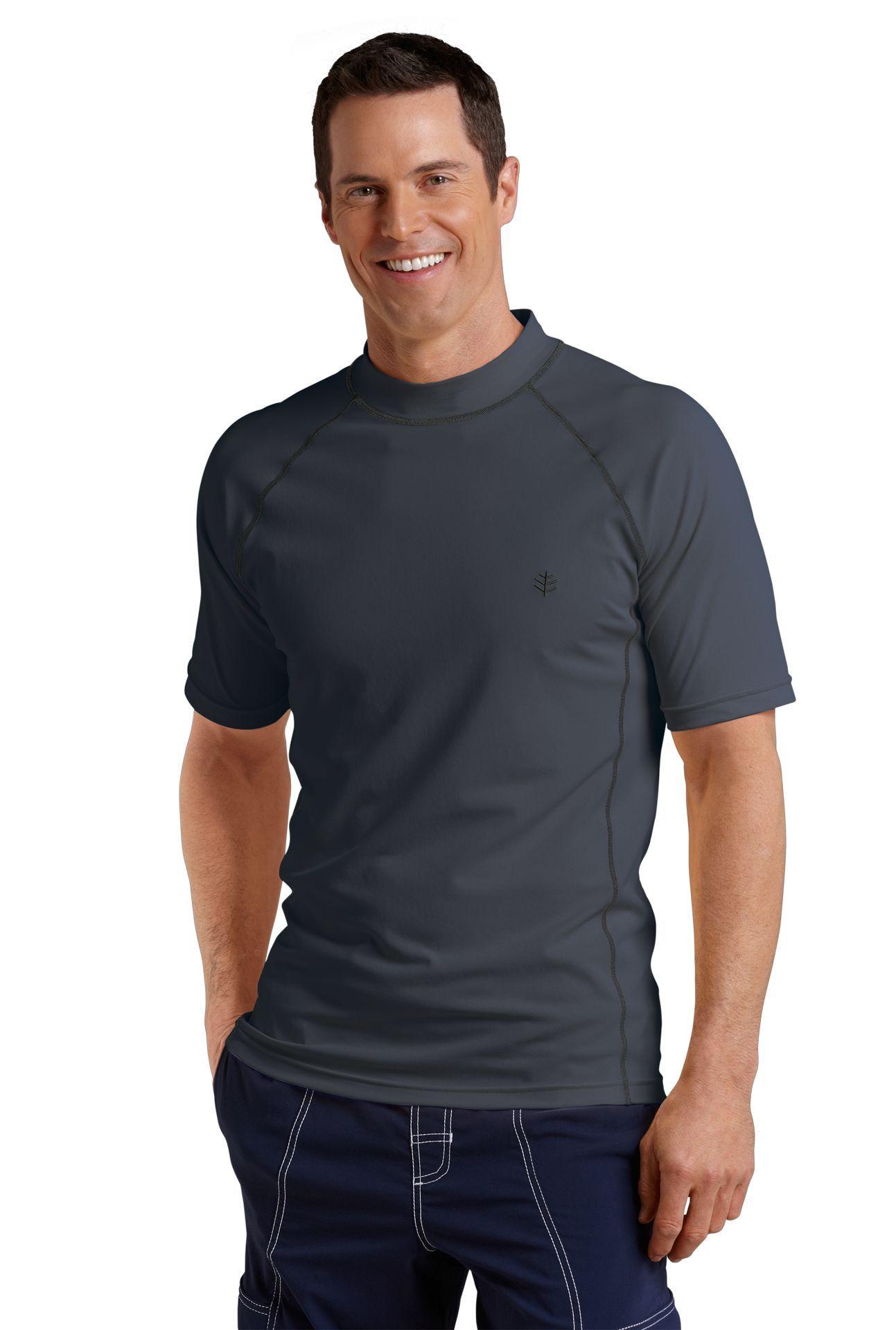 Men's Sun Protection Swim Shirt, Graphite - Short Sleeve