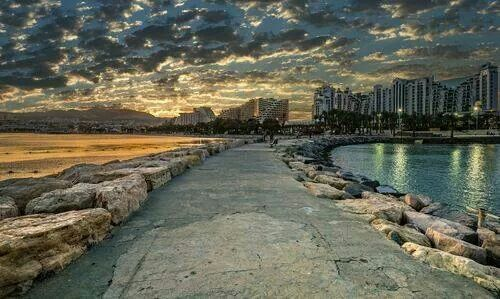 Eliat, Israel, evening settles over this lovely beach town.