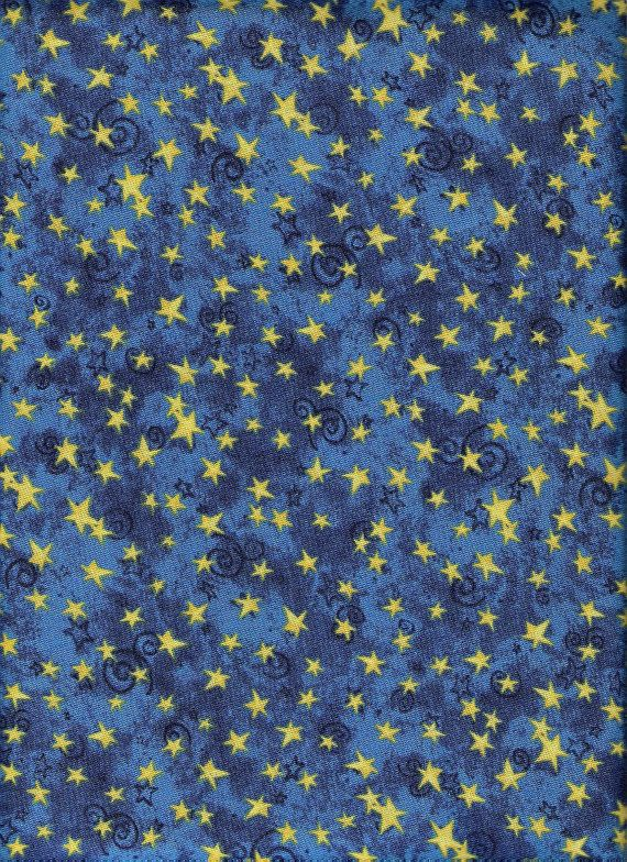 Reserved galaxy blue fabric yellow moon fabric gold for Galaxy quilt fabric