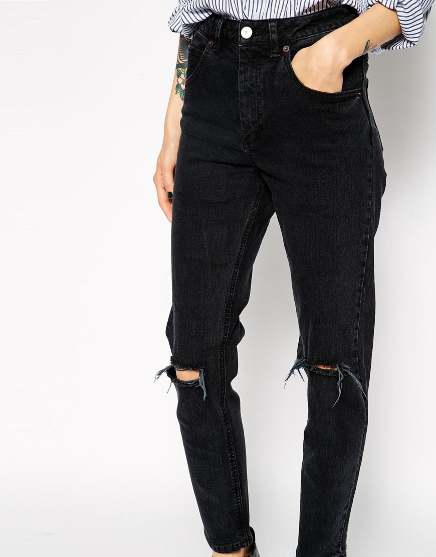 e06ba81f482 ASOS | ASOS Farleigh High Waist Slim Mom Jeans in Washed Black with Busted  Knees at ASOS
