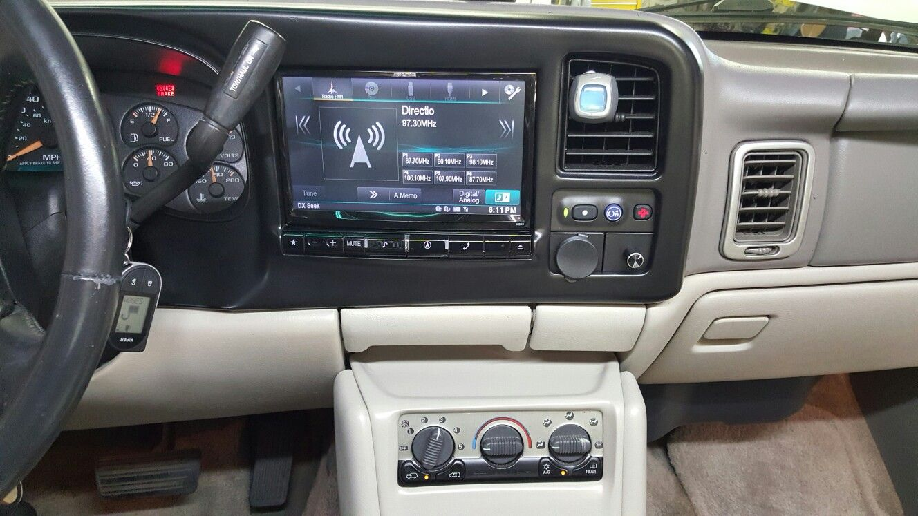 Alpine 9inch Restyle Custom Build Dash Relocate Ac Controls Came Out Clean Chevy Tahoe Chevy Tahoe 2004 Chevy Silverado Chevrolet Tahoe