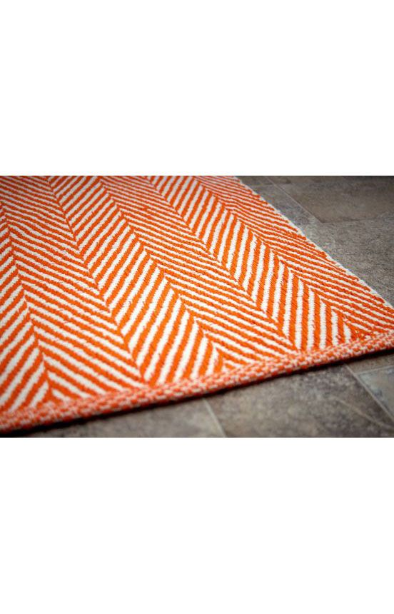 Chalet Herringbone Flatwoven Orange Rug Contemporary