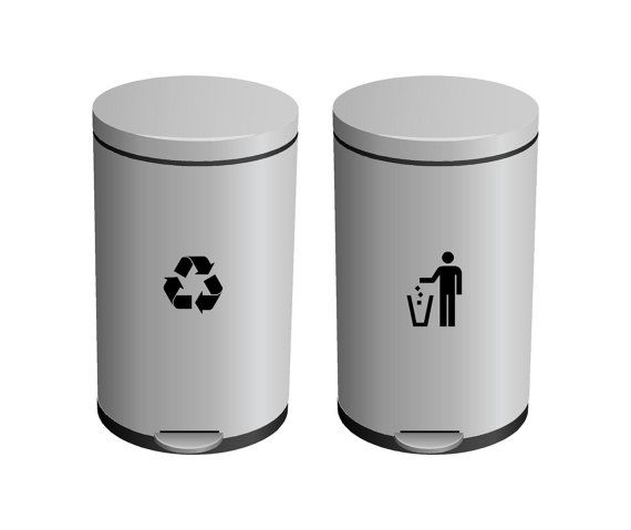 Trash and recycling vinyl sticker decals for trash//recycle Garbage Can and