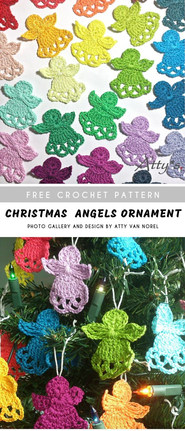 Christmas Angels Crochet Ornament with Free Pattern #crochetapplicates