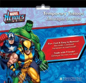 Marvel Heroes Temporary Tattoos - 8 Sheets by Sandylion. $6.99. 8 Sheets of Temporary Tattoos. Marvel Superheroes temporary tattoos. Includes Wolverine, Ironman, Captain America, Thor, Spiderman, The Hulk and more.