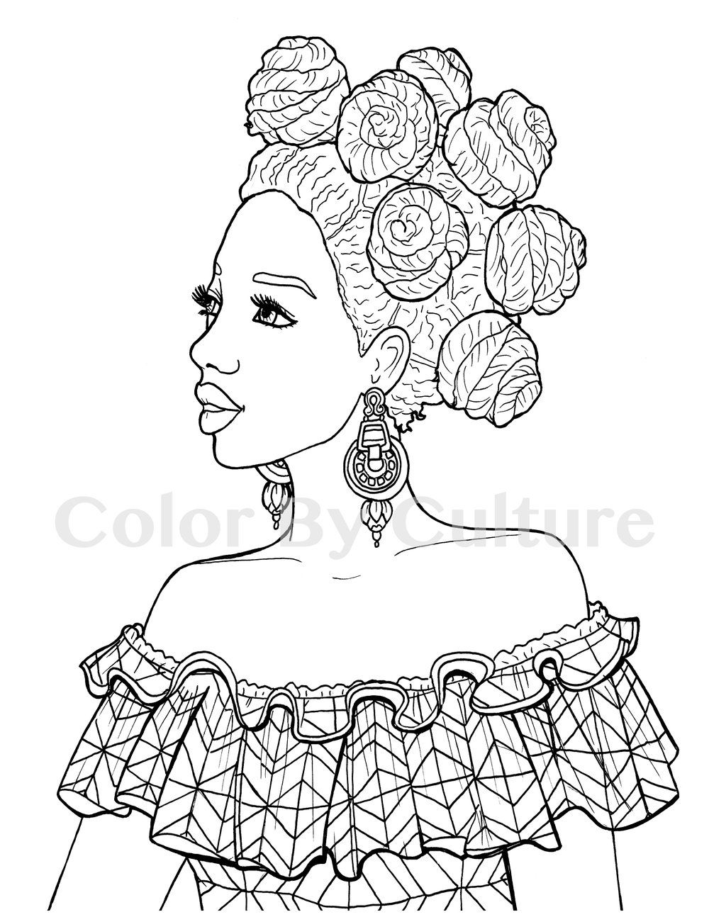 Printable coloring book african fashions adult colouring
