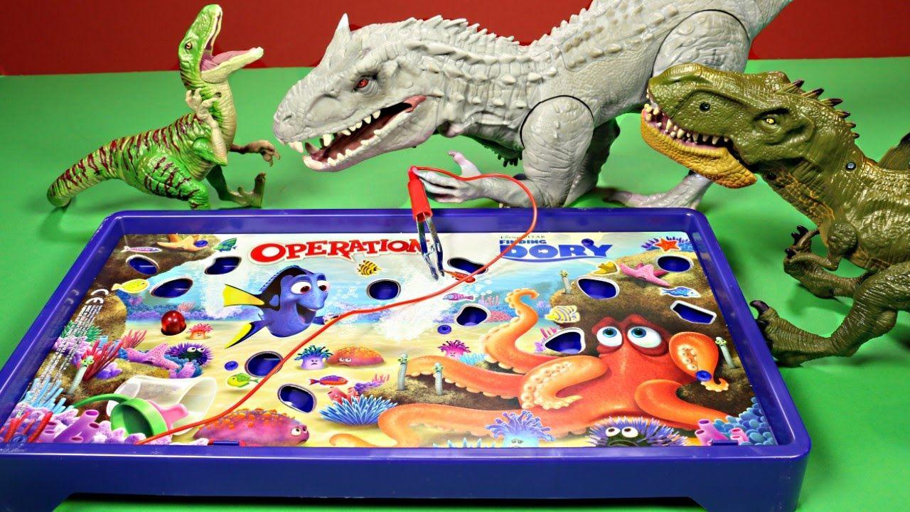 New Finding Dory Disney,Pixar Operation Game Vs Jurassic World Dinosaurs...
