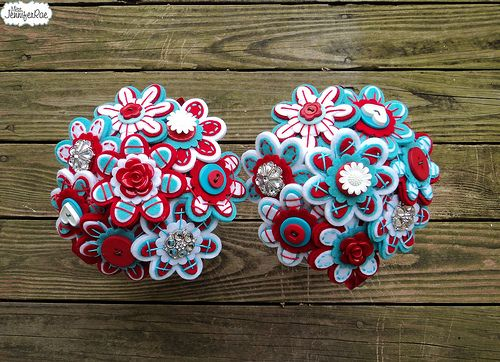 Red and Aqua Felt and Button Bouquets. Alternative Wedding Bouquets. Circus Wedding
