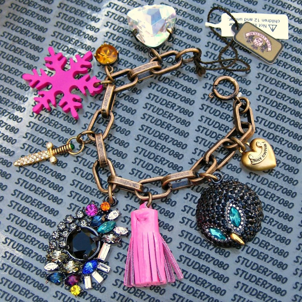 JUICY COUTURE  Authentic GOLD Rare Pave HEART, OWL, TASSEL CHARMS BRACELET  New #JuicyCouture #LobsterClaspCharm