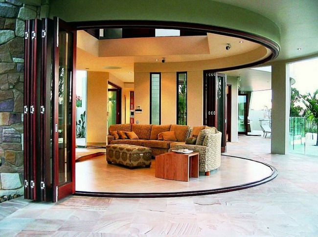 Elegant Glass Door and Luxury Sofa in Modern Patio Ideas